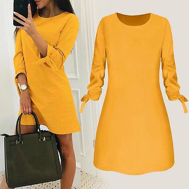 3/4 Tied Sleeve Tunic Mini Dress
