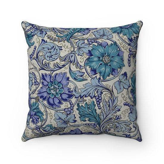 Blue Antique Floral Faux Suede Square Pillow