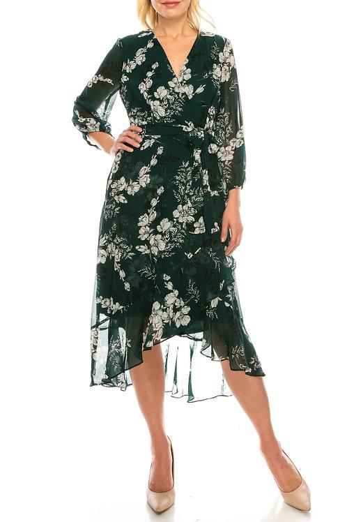 Sandra Darren (SIZE 6)  Hunter Floral Printed Chiffon Faux Wrap Dress