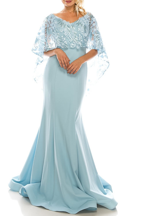 Odrella Trumpet Evening Gown with Embroidered Mesh Cape