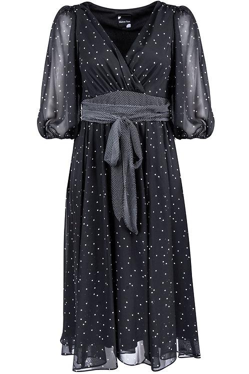 Maison Tara Elbow Sleeve Surplice Neckline Polka Dot A-Line Dress