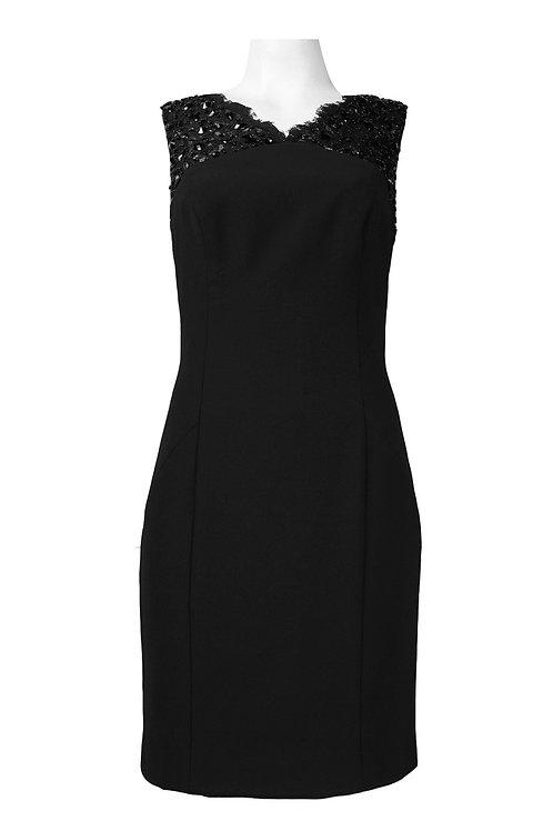 Lace Shoulder Rhinestone Detail Cutout Back Crepe Dress. Lined.