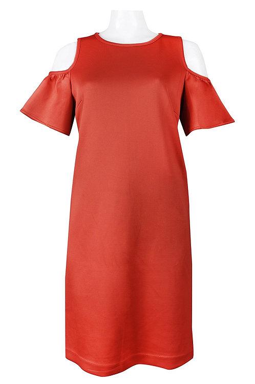 Ruffle Open Shoulder Short Sheath Dress. Lined. By Nine West.