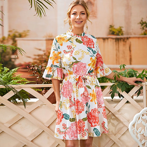 Floral Print Flounce Sleeve Belted Dress