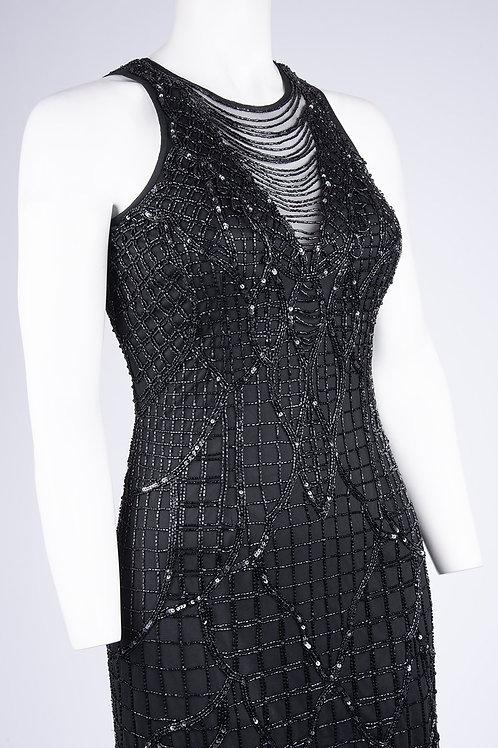 Aidan Mattox Fringe Beaded Cocktail Dress