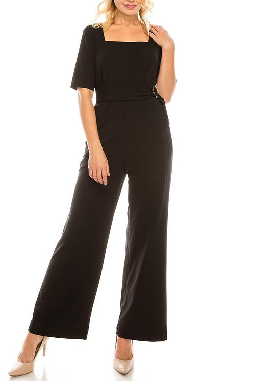 Shelby & Palmer Black Crepe Square Neck Jumpsuit