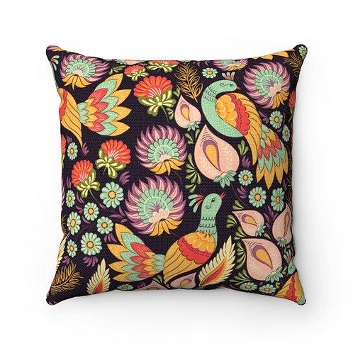 Partridge Garden Spun Polyester Square Pillow