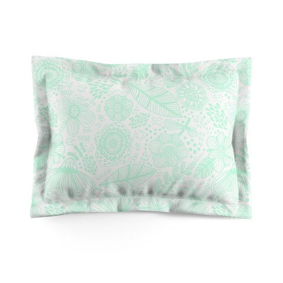 Hint of Mint Garden Microfiber Pillow Sham