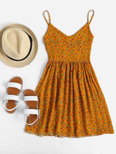 V Neckline Ditsy Print Cami Dress