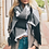 Thumbnail: Black & Gray Plaid Waffle Style Knit Blanket Scarf