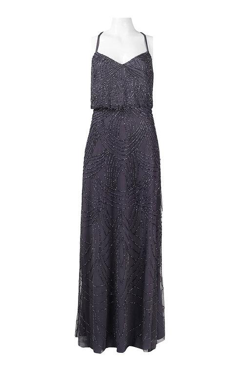Adrianna Papell V-Neckline Criss Cross Back Long Mesh Beaded Dress