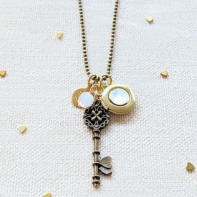 """ADJUSTABLE """"ONE DREAM"""" VINTAGE KEY & BALL CHAIN LOCKET NECKLACE (LONG)"""