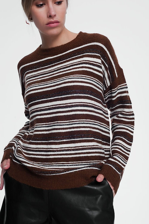 Brown Stripped Sweater With Long Sleeves