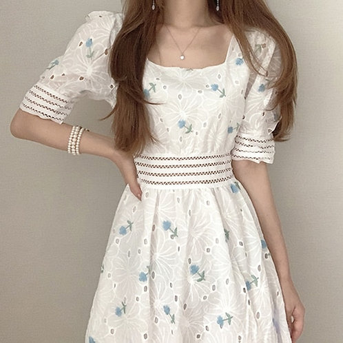 Hollow Out White Lace Party Dress