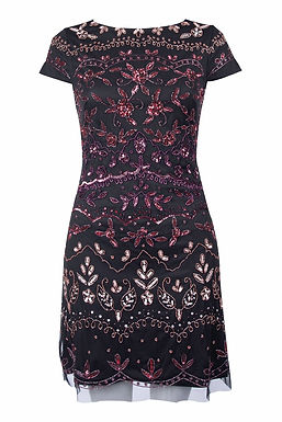 Adrianna Papell Short Sleeve Embellished Cocktail Dress