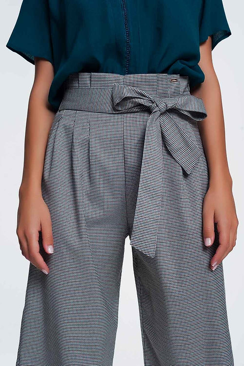 Paper Bag Waiste Tie Front Gingham Pants