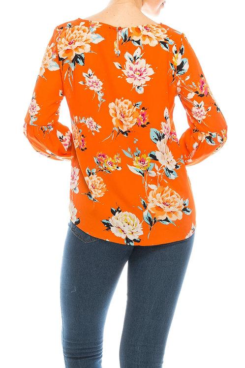 Jessica Rose Orange Black Blue Floral Print Boatneck Bishop Sleeve