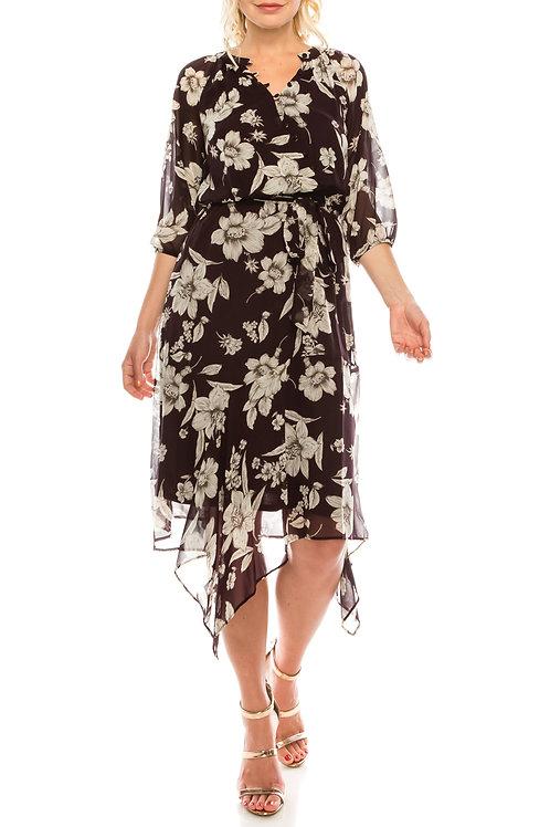 Maison Tara Plum Multi Floral Printed Midi Faux Wrap Dress