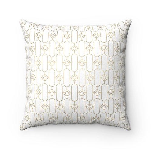 Gold Art Deco Oblong Patterned Faux Suede Square Pillow