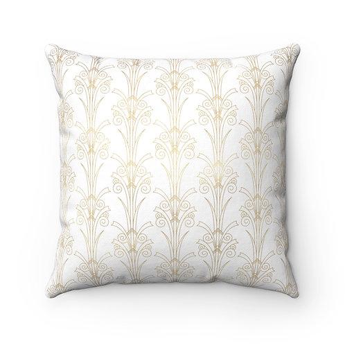 Gold Art Deco Tulip Spun Polyester Square Pillow
