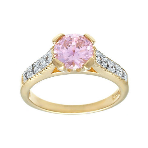 Very Fine Classic Engagement Solitaire Pink Clear Ring