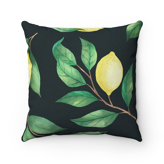 Lemon Tree on Blk Spun Polyester Square Pillow
