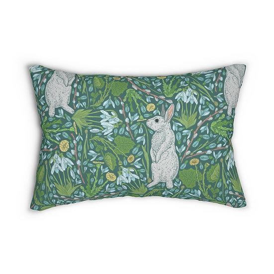 Bunnies in the Garden Spun Polyester Lumbar Pillow