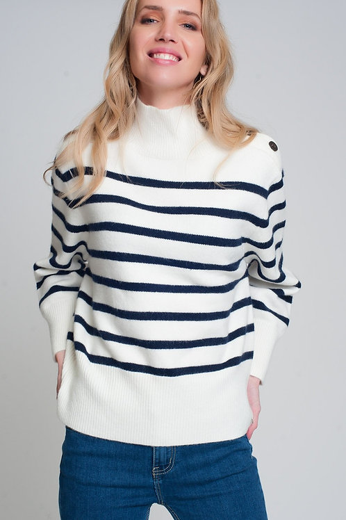 Striped Sweater With Button Detail in Black