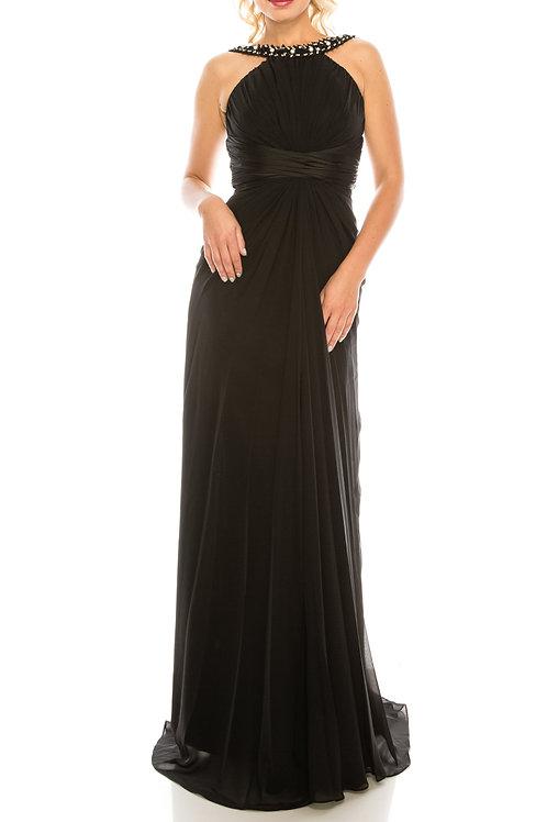 Odrella Black Gathered Embellished Halter Evening Dress