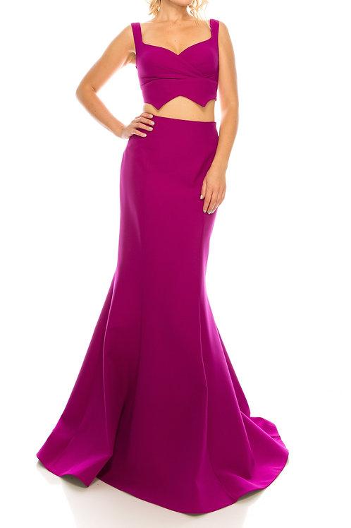 Odrella Magenta Crepe Twill 2 Piece Evening Gown