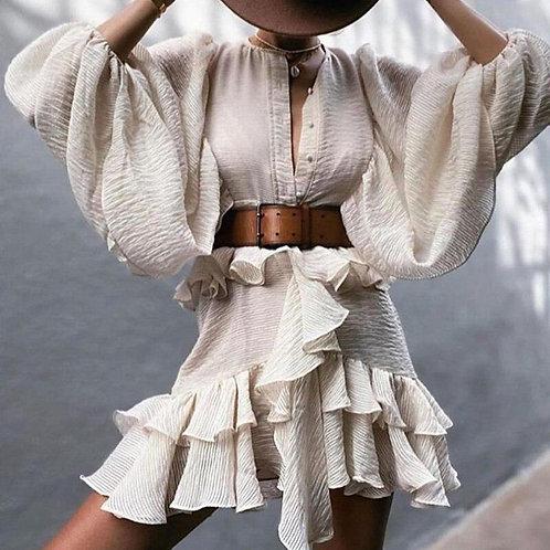 Autumn Lantern Long Sleeve Ruffle Party Dress