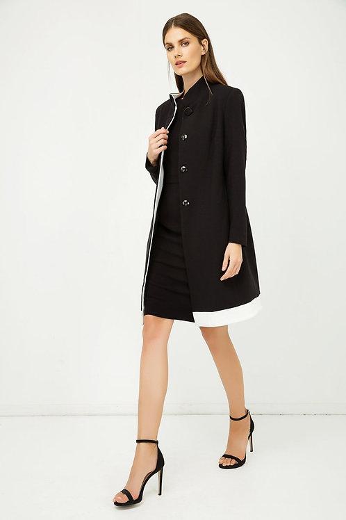 Black Coat with Ecru Detail