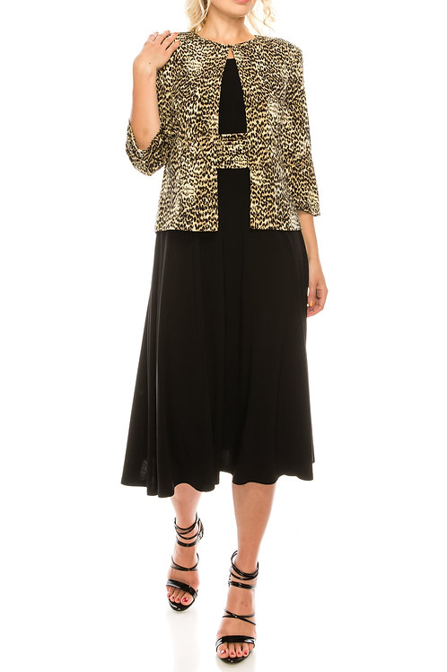 Jessica Howard Black Tan Leopard Printed 2 Piece Jacket Dress