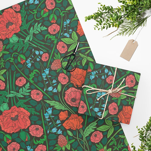 Green Garden with Orange Flowers Wrapping Paper