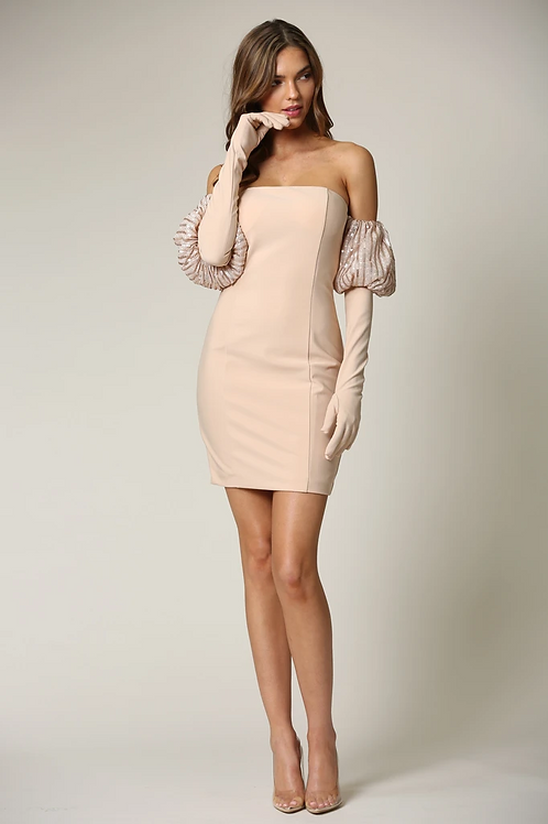 Auria- Striped Sequin Puff Sleeves Strapless Dress