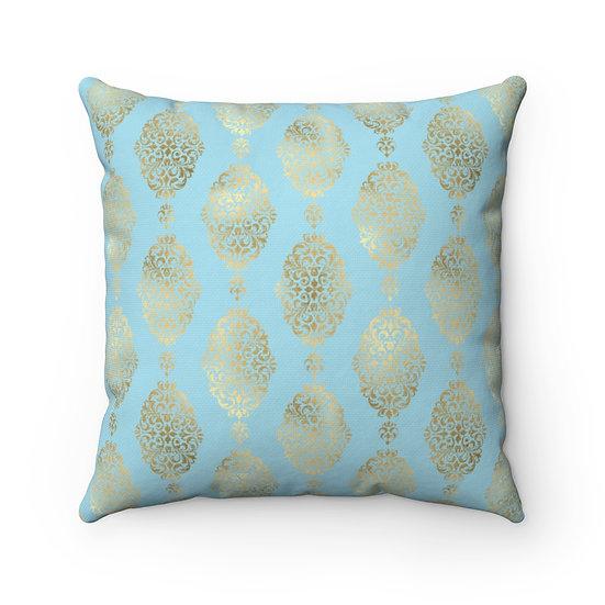 Golden Teal Spun Polyester Square Pillow