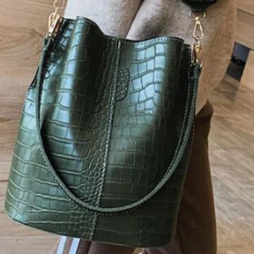 Blake Shoulder Bag -Olive Croc
