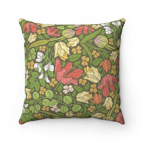 Delightful Garden Faux Suede Square Pillow