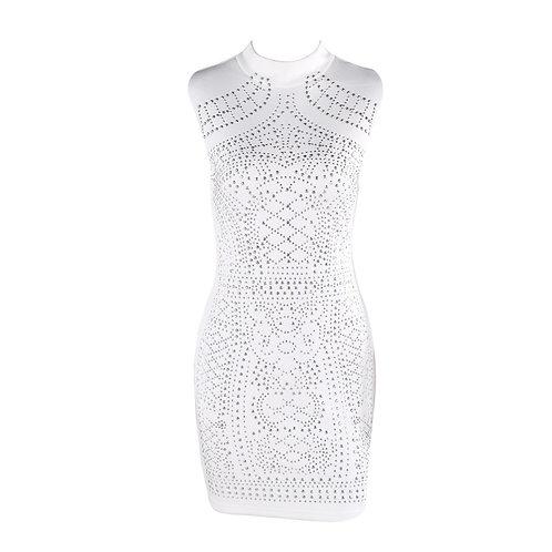 Sleeveless Studded Geometric Party Dress