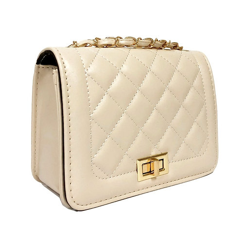 Ivory Leather Quilted Crossbody