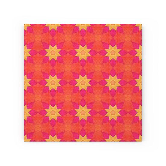 Orange Geometric Wood Canvas