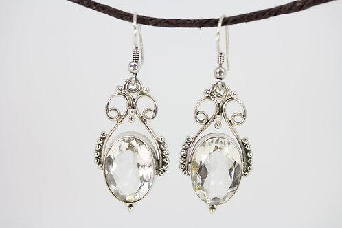Open Work Clear Crystal Quartz Queenly Earrings