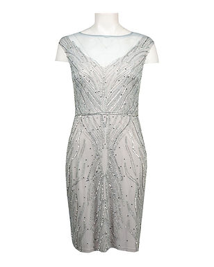 Adrianna Papell Beaded Illusion Cap Sleeve Cocktail Dress