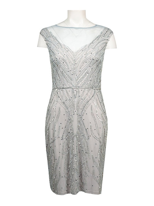 Adrianna Papell Beaded Illusion Cap Sleeve Cocktail Dress