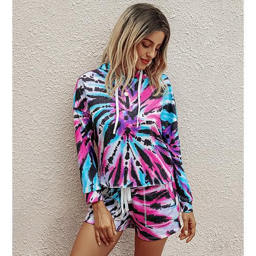 Casual Two Piece Tie-Dye Women Suits T-shirt Shorts Set