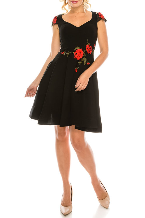 Odrella Black Floral Embroidered A-Line Party Dress