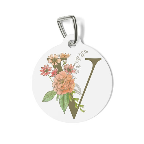 Personalized Floral Pet Tag - V