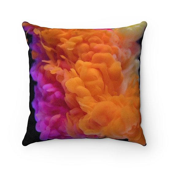 Liquid Orange Faux Suede Square Pillow