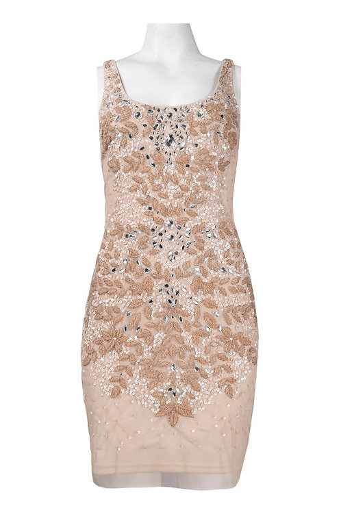 Adrianna Papell Scoop Neckline Sequin Pattern Sheath Dress