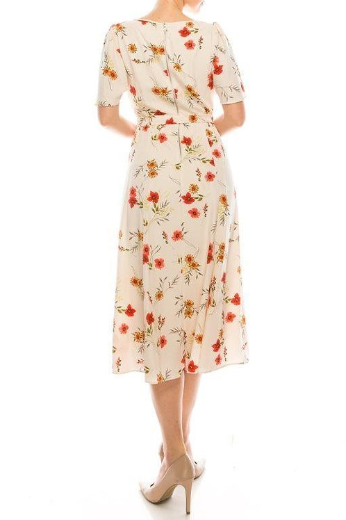 Maison Tara Blush Red Floral Dress with Flutter Sleeves